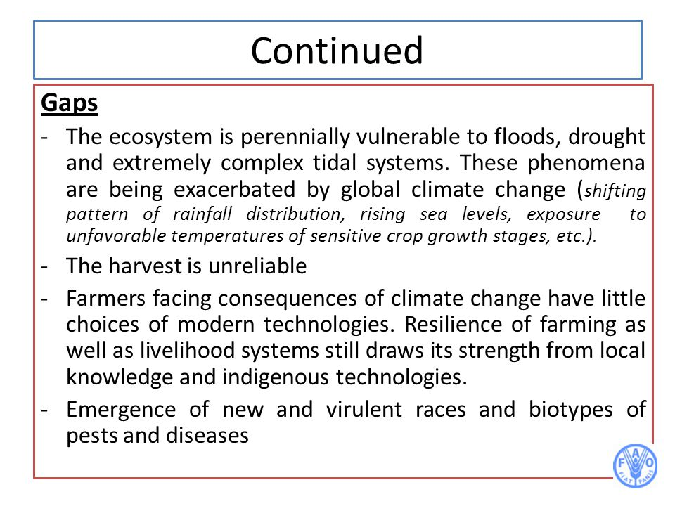 Continued Gaps -The ecosystem is perennially vulnerable to floods, drought and extremely complex tidal systems. These phenomena are being exacerbated