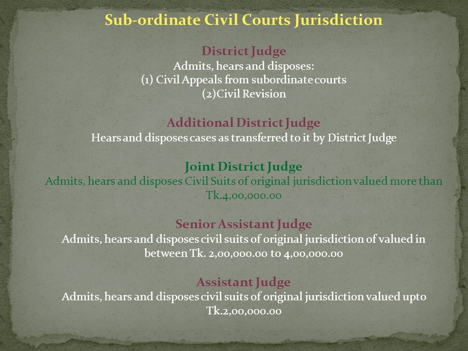 Sub-ordinate Civil Courts Jurisdiction District Judge Admits, hears and disposes: (1) Civil Appeals from subordinate courts (2)Civil Revision Additional District Judge Hears and disposes cases as transferred to it by District Judge Joint District Judge Admits, hears and disposes Civil Suits of original jurisdiction valued more than Tk.4,00,000.00 Senior Assistant Judge Admits, hears and disposes civil suits of original jurisdiction of valued in between Tk.