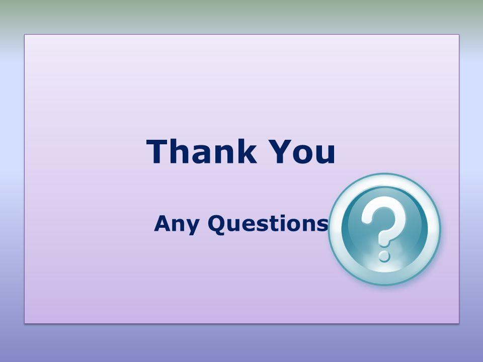 Thank You Any Questions Thank You Any Questions