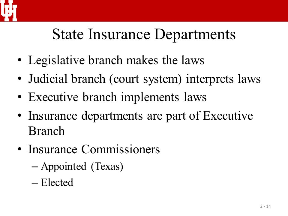 State Insurance Departments Legislative branch makes the laws Judicial branch (court system) interprets laws Executive branch implements laws Insuranc