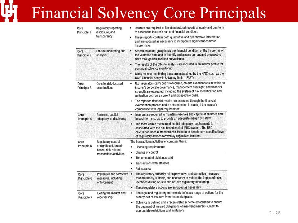 Financial Solvency Core Principals 2 - 26