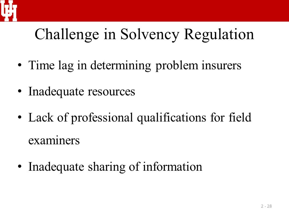Challenge in Solvency Regulation Time lag in determining problem insurers Inadequate resources Lack of professional qualifications for field examiners