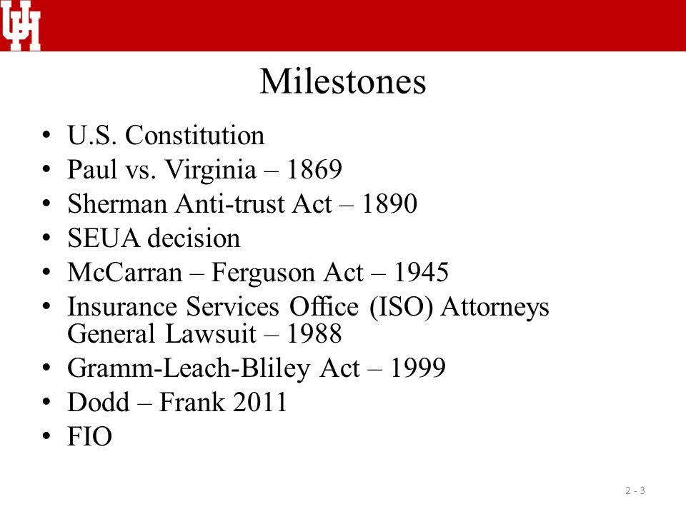 Milestones U.S. Constitution Paul vs. Virginia – 1869 Sherman Anti-trust Act – 1890 SEUA decision McCarran – Ferguson Act – 1945 Insurance Services Of