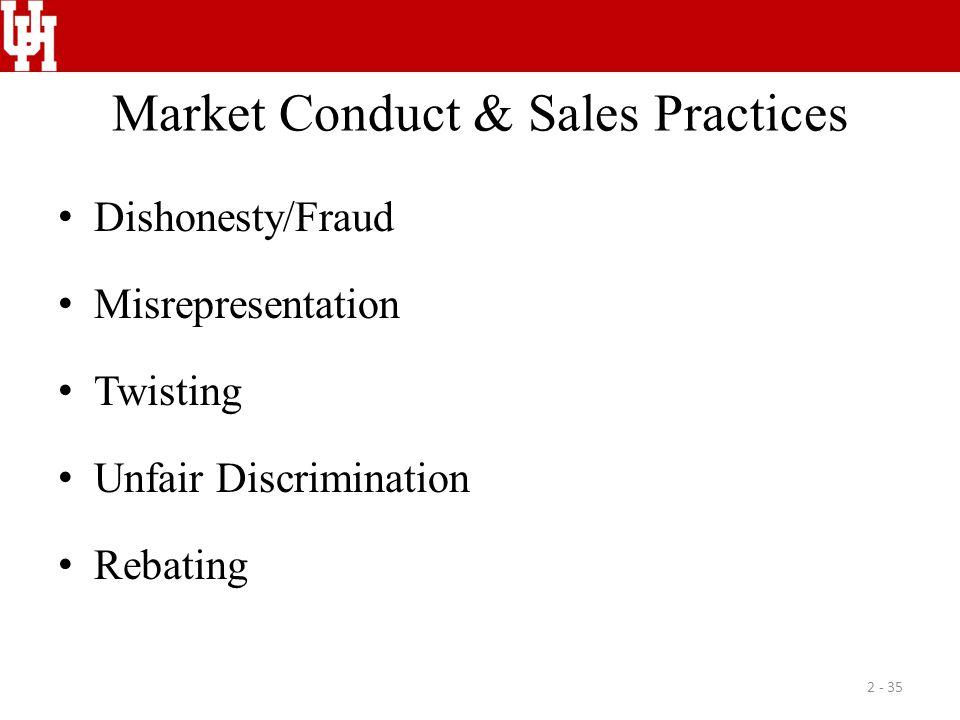 Market Conduct & Sales Practices Dishonesty/Fraud Misrepresentation Twisting Unfair Discrimination Rebating 2 - 35
