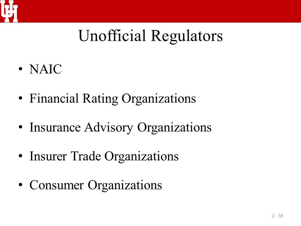 Unofficial Regulators NAIC Financial Rating Organizations Insurance Advisory Organizations Insurer Trade Organizations Consumer Organizations 2 - 38