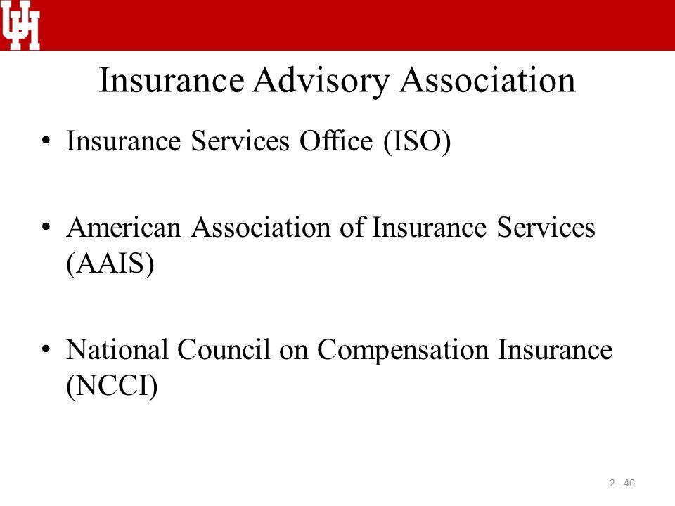 Insurance Advisory Association Insurance Services Office (ISO) American Association of Insurance Services (AAIS) National Council on Compensation Insu