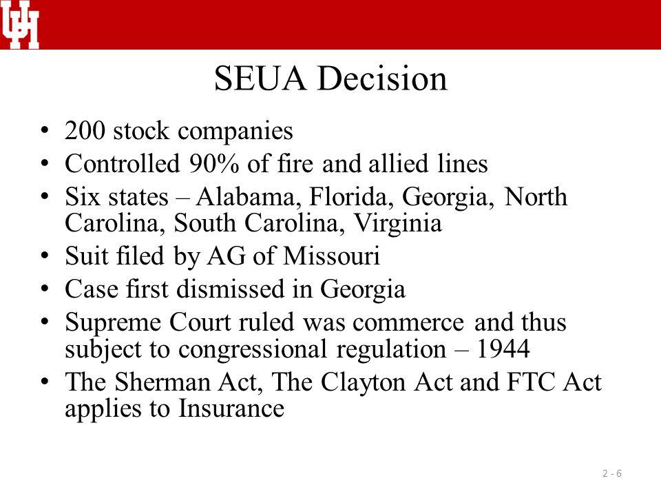 SEUA Decision 200 stock companies Controlled 90% of fire and allied lines Six states – Alabama, Florida, Georgia, North Carolina, South Carolina, Virg