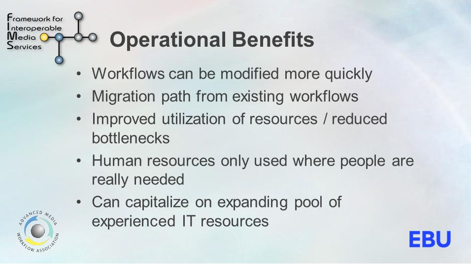 Operational Benefits Workflows can be modified more quickly Migration path from existing workflows Improved utilization of resources / reduced bottlenecks Human resources only used where people are really needed Can capitalize on expanding pool of experienced IT resources
