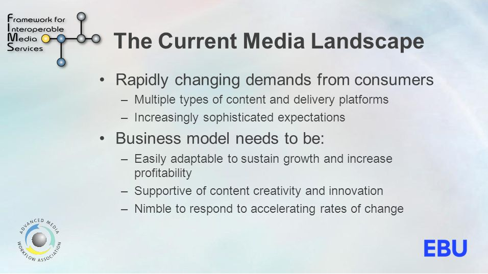 Business Benefits A media supply chain that is more responsive to consumers needs and competitors activities Highly efficient media production becomes more achievable Supports business continuity by facilitating easier control of resources and contingency planning