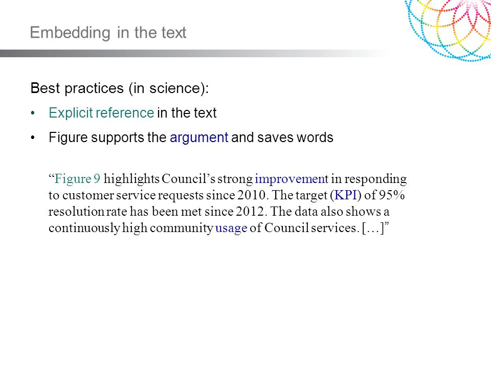 Embedding in the text Best practices (in science): Explicit reference in the text Figure supports the argument and saves words Figure 9 highlights Cou