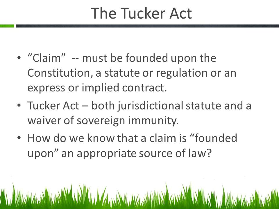 The Tucker Act Claim -- must be founded upon the Constitution, a statute or regulation or an express or implied contract.