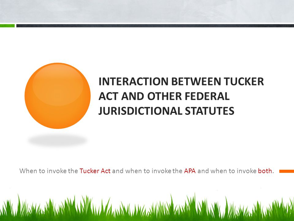 INTERACTION BETWEEN TUCKER ACT AND OTHER FEDERAL JURISDICTIONAL STATUTES When to invoke the Tucker Act and when to invoke the APA and when to invoke both.