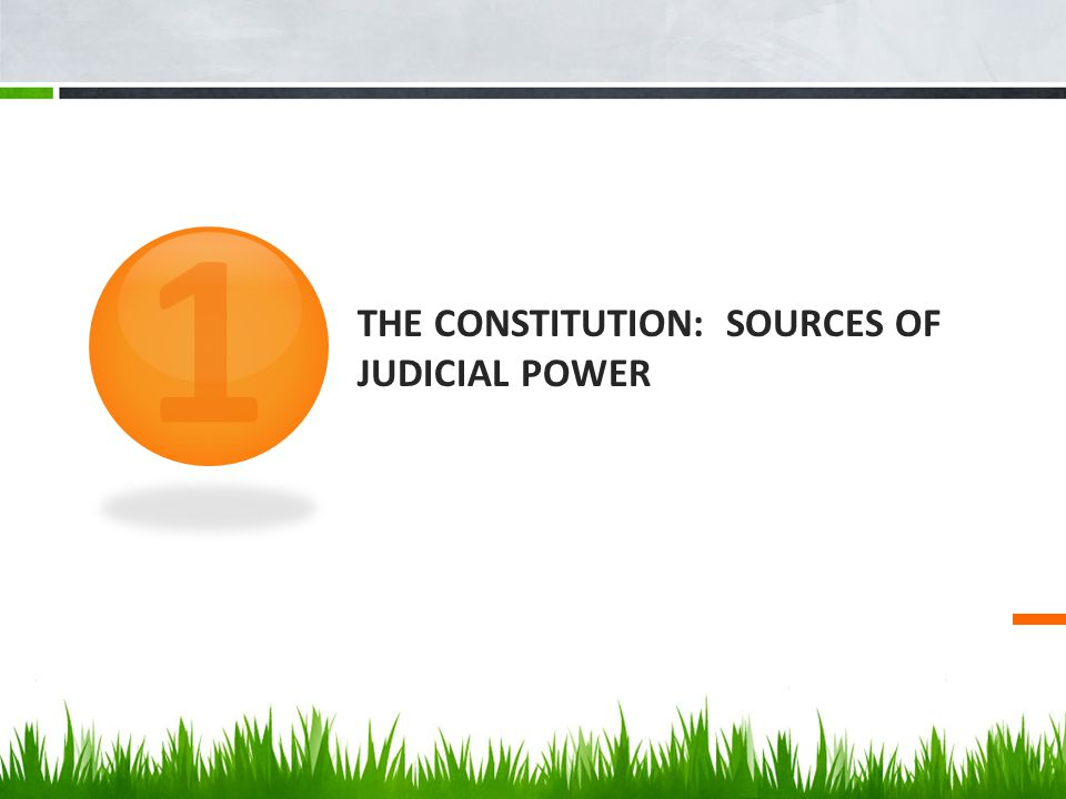 THE CONSTITUTION: SOURCES OF JUDICIAL POWER 1