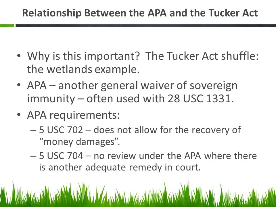 Relationship Between the APA and the Tucker Act Why is this important? The Tucker Act shuffle: the wetlands example. APA – another general waiver of s