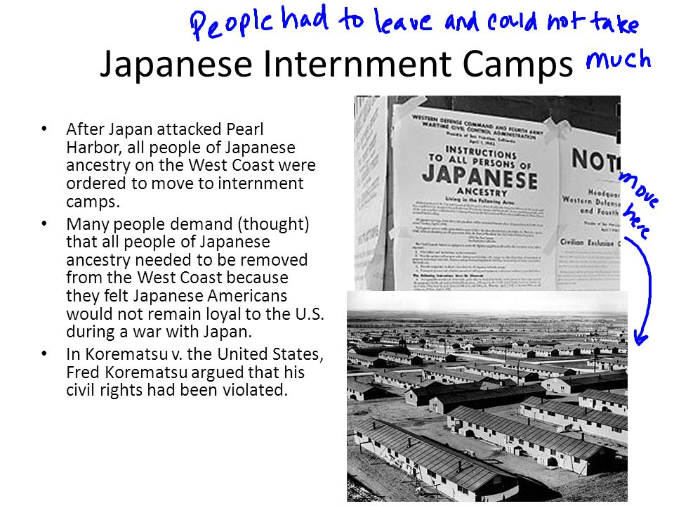 Japanese Internment Camps After Japan attacked Pearl Harbor, all people of Japanese ancestry on the West Coast were ordered to move to internment camp