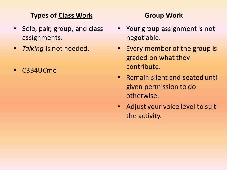 Types of Class Work Solo, pair, group, and class assignments.