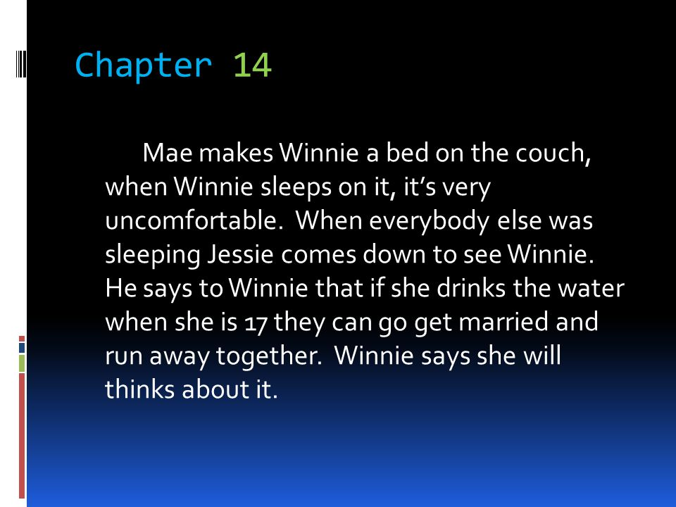 Chapter 14 Mae makes Winnie a bed on the couch, when Winnie sleeps on it, its very uncomfortable. When everybody else was sleeping Jessie comes down t
