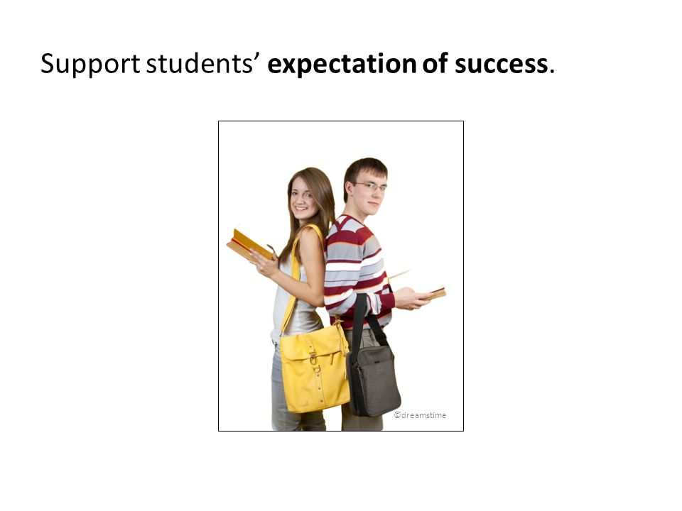 Support students expectation of success. ©dreamstime