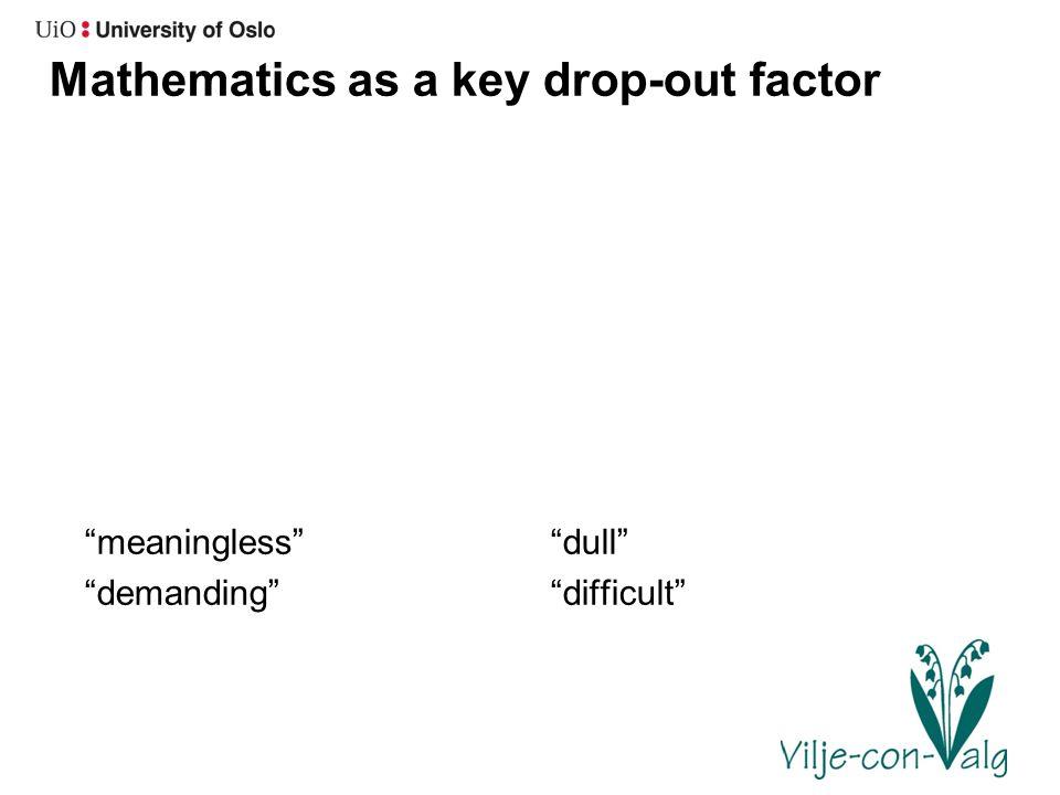 Mathematics as a key drop-out factor meaningless demanding dull difficult