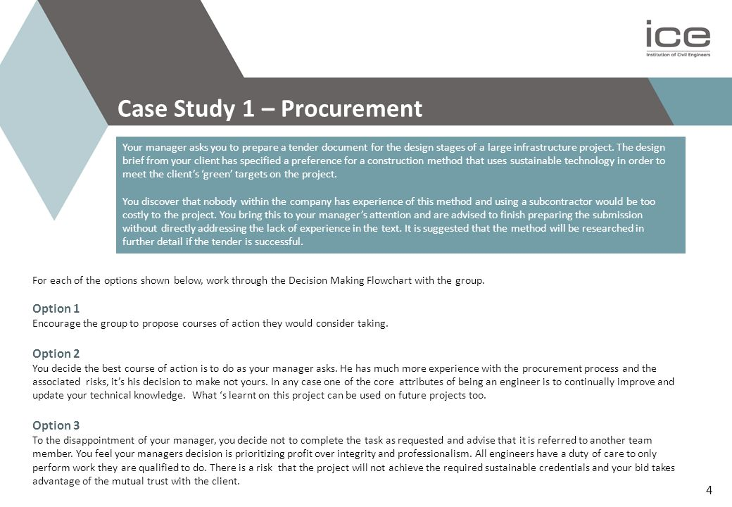 Case Study 1 – Procurement Your manager asks you to prepare a tender document for the design stages of a large infrastructure project.
