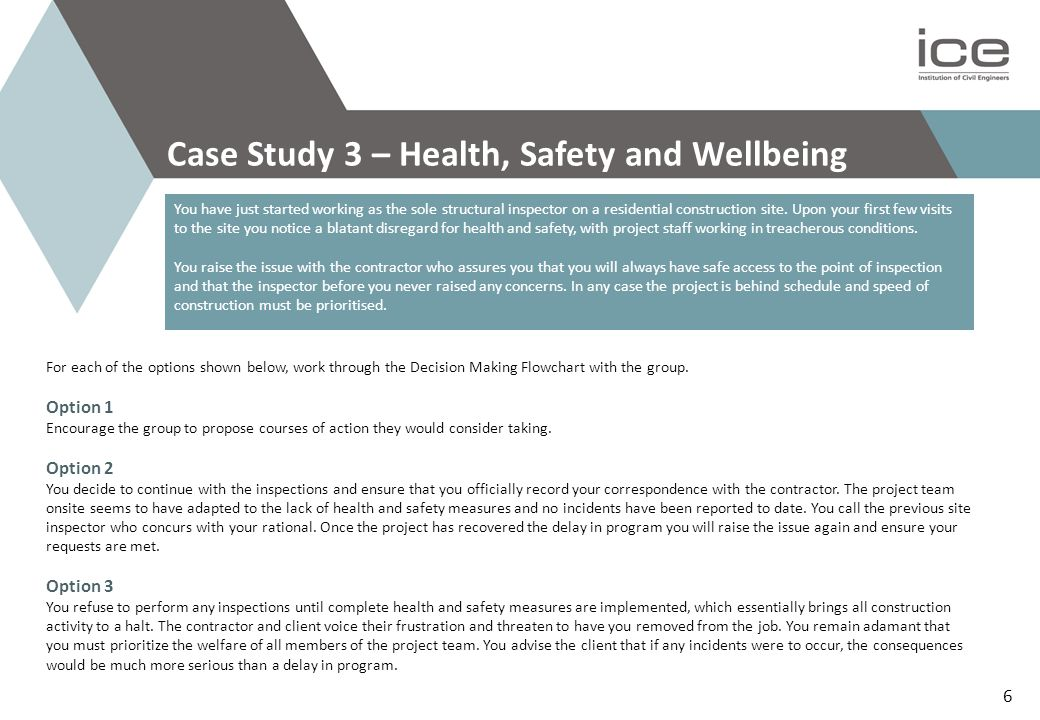 Case Study 3 – Health, Safety and Wellbeing You have just started working as the sole structural inspector on a residential construction site.