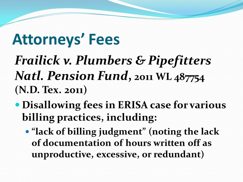 Attorneys Fees Frailick v. Plumbers & Pipefitters Natl.