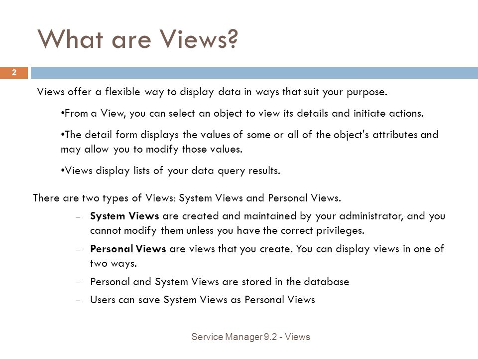 What are Views. Views offer a flexible way to display data in ways that suit your purpose.