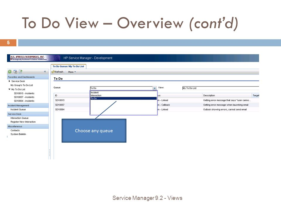 To Do View – Overview (contd) 5 Service Manager 9.2 - Views