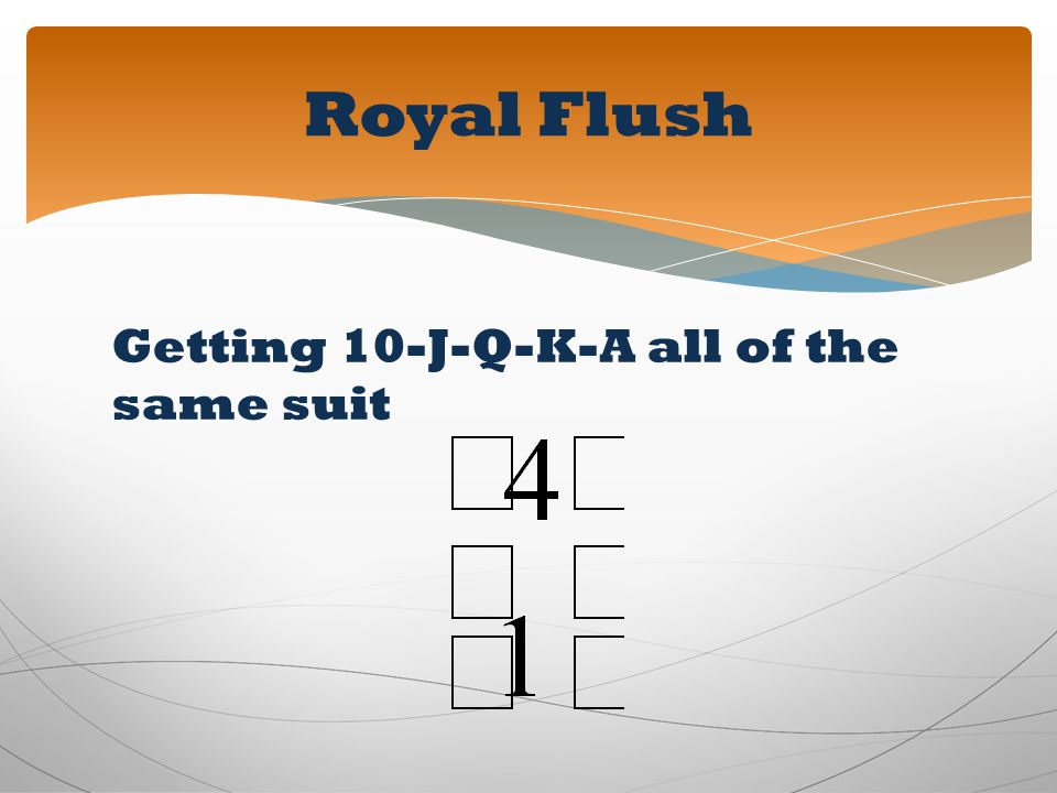 Getting 10-J-Q-K-A all of the same suit Royal Flush