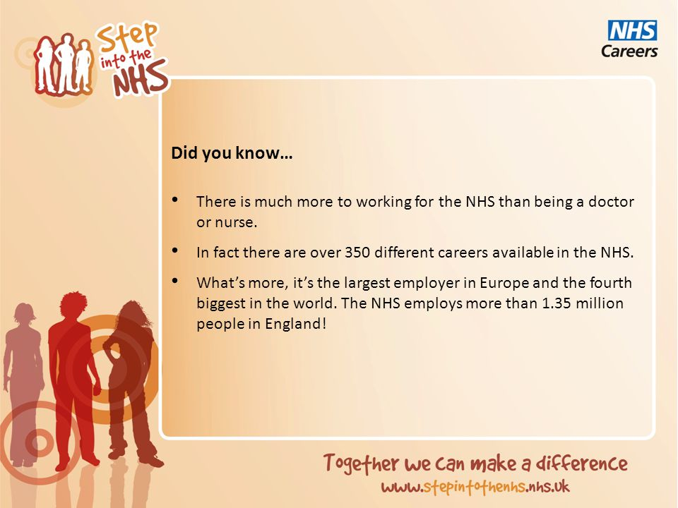 Did you know… There is much more to working for the NHS than being a doctor or nurse.