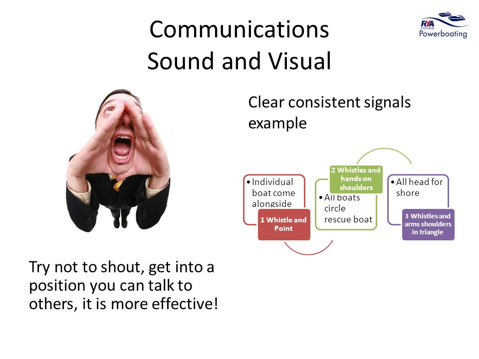 Communications Sound and Visual Try not to shout, get into a position you can talk to others, it is more effective.