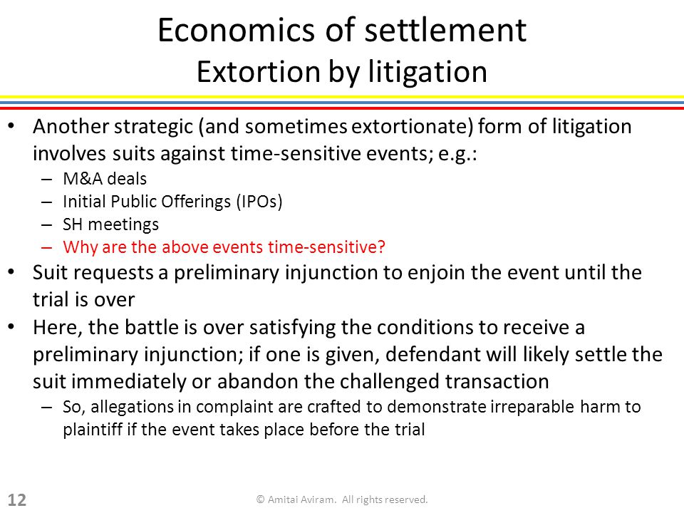 Economics of settlement Extortion by litigation Another strategic (and sometimes extortionate) form of litigation involves suits against time-sensitive events; e.g.: – M&A deals – Initial Public Offerings (IPOs) – SH meetings – Why are the above events time-sensitive.