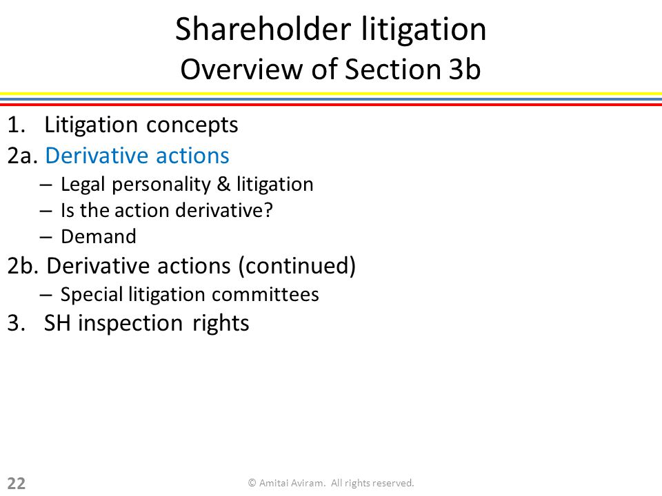 Shareholder litigation Overview of Section 3b 1. Litigation concepts 2a.