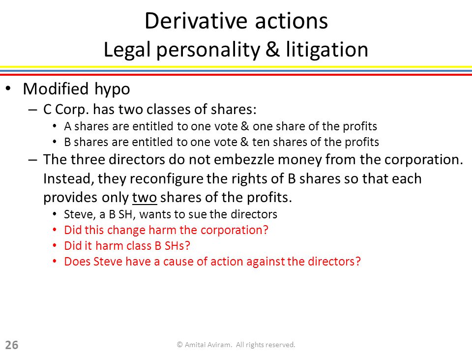 Derivative actions Legal personality & litigation Modified hypo – C Corp.