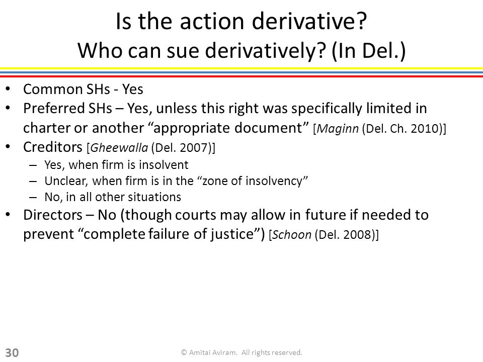 Is the action derivative. Who can sue derivatively.