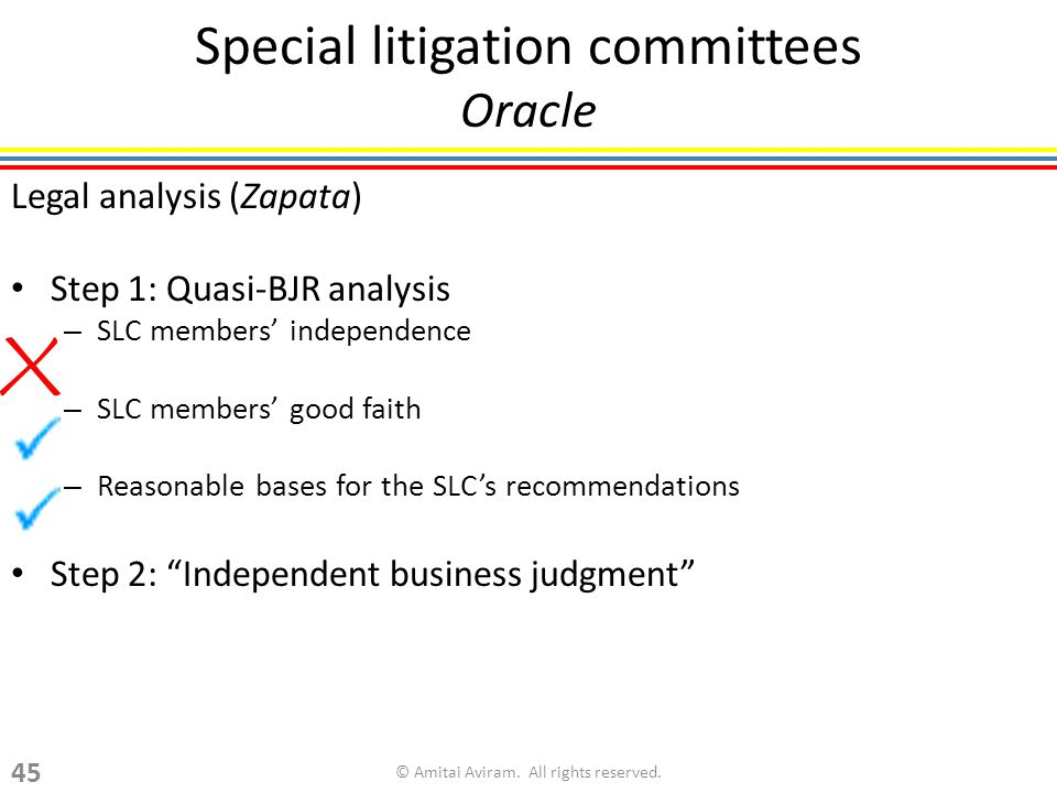 Special litigation committees Oracle Legal analysis (Zapata) Step 1: Quasi-BJR analysis – SLC members independence – SLC members good faith – Reasonable bases for the SLCs recommendations Step 2: Independent business judgment © Amitai Aviram.