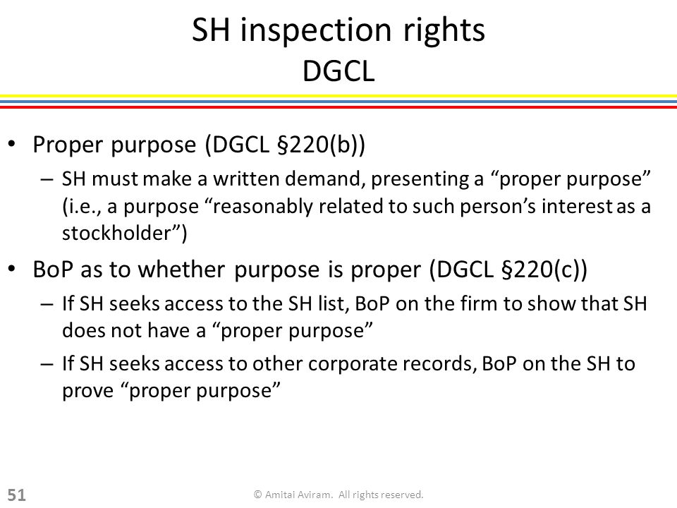 SH inspection rights DGCL Proper purpose (DGCL §220(b)) – SH must make a written demand, presenting a proper purpose (i.e., a purpose reasonably related to such persons interest as a stockholder) BoP as to whether purpose is proper (DGCL §220(c)) – If SH seeks access to the SH list, BoP on the firm to show that SH does not have a proper purpose – If SH seeks access to other corporate records, BoP on the SH to prove proper purpose © Amitai Aviram.