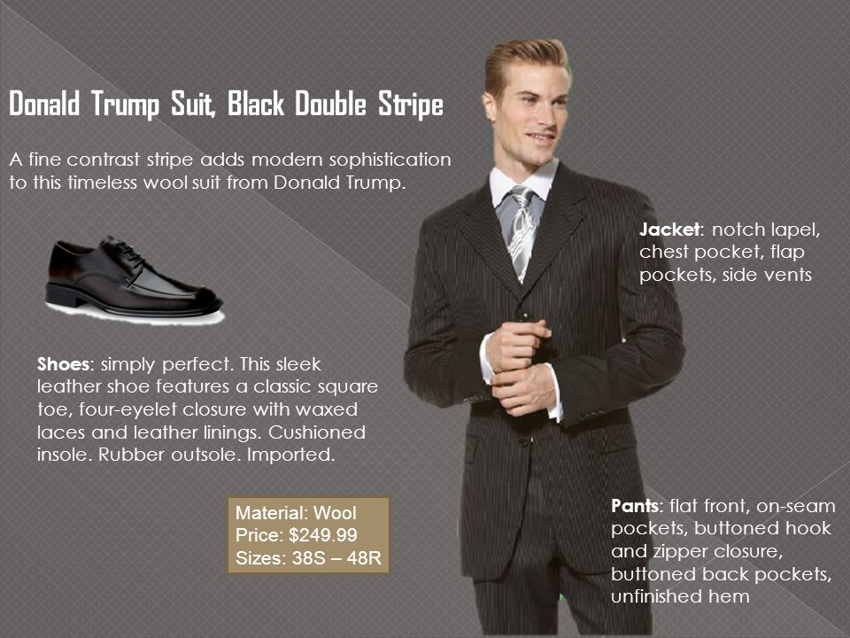 Donald Trump Suit, Black Double Stripe A fine contrast stripe adds modern sophistication to this timeless wool suit from Donald Trump.