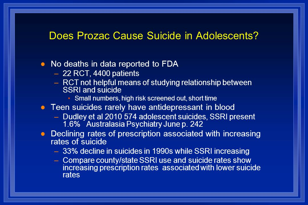 Does Prozac Cause Suicide in Adolescents.