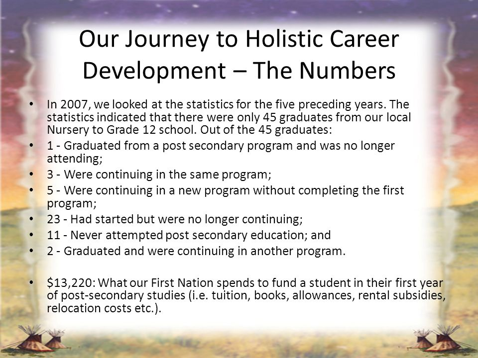 Our Journey to Holistic Career Development – The Numbers In 2007, we looked at the statistics for the five preceding years. The statistics indicated t