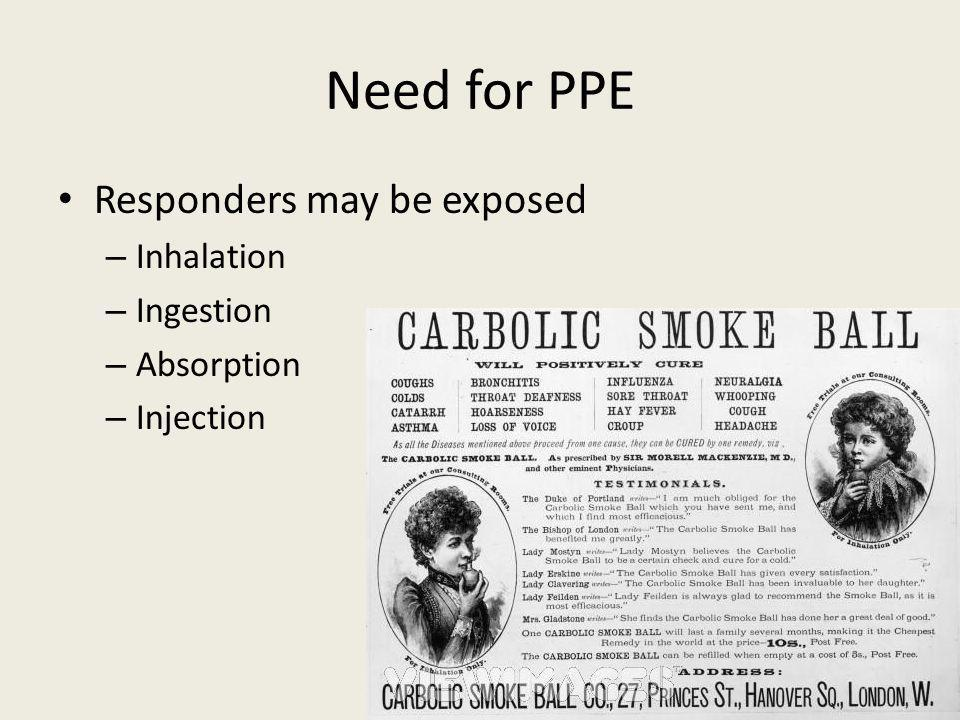 Need for PPE Responders may be exposed – Inhalation – Ingestion – Absorption – Injection