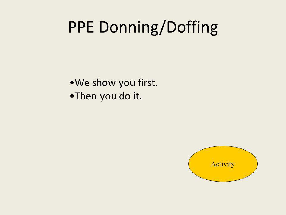 PPE Donning/Doffing Activity We show you first. Then you do it.