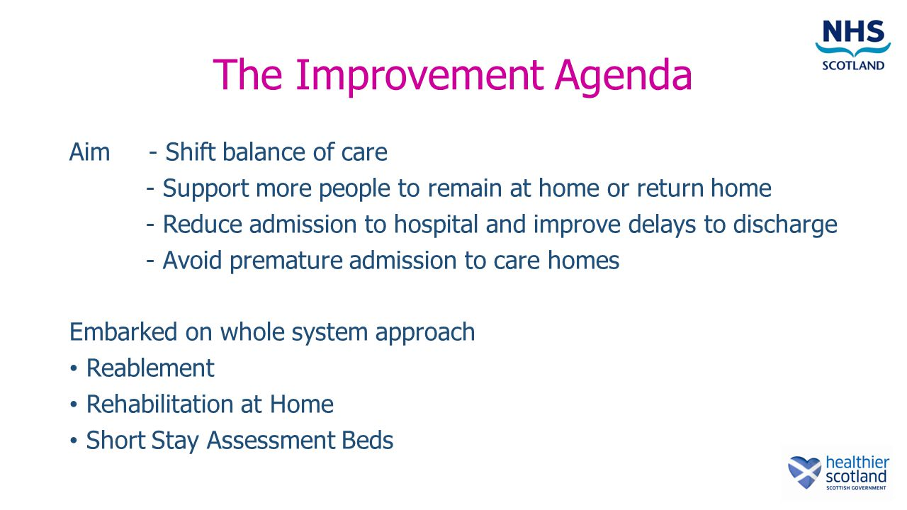 The Improvement Agenda Aim - Shift balance of care - Support more people to remain at home or return home - Reduce admission to hospital and improve delays to discharge - Avoid premature admission to care homes Embarked on whole system approach Reablement Rehabilitation at Home Short Stay Assessment Beds