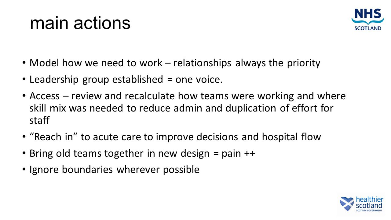 main actions Model how we need to work – relationships always the priority Leadership group established = one voice.