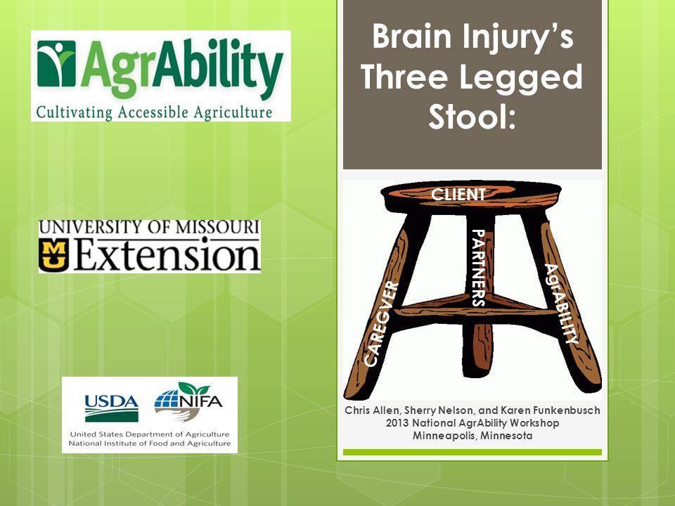 Chris Allen, Sherry Nelson, and Karen Funkenbusch 2013 National AgrAbility Workshop Minneapolis, Minnesota CLIENT CAREGVER AgrABILITY Brain Injurys Three Legged Stool: PARTNERS