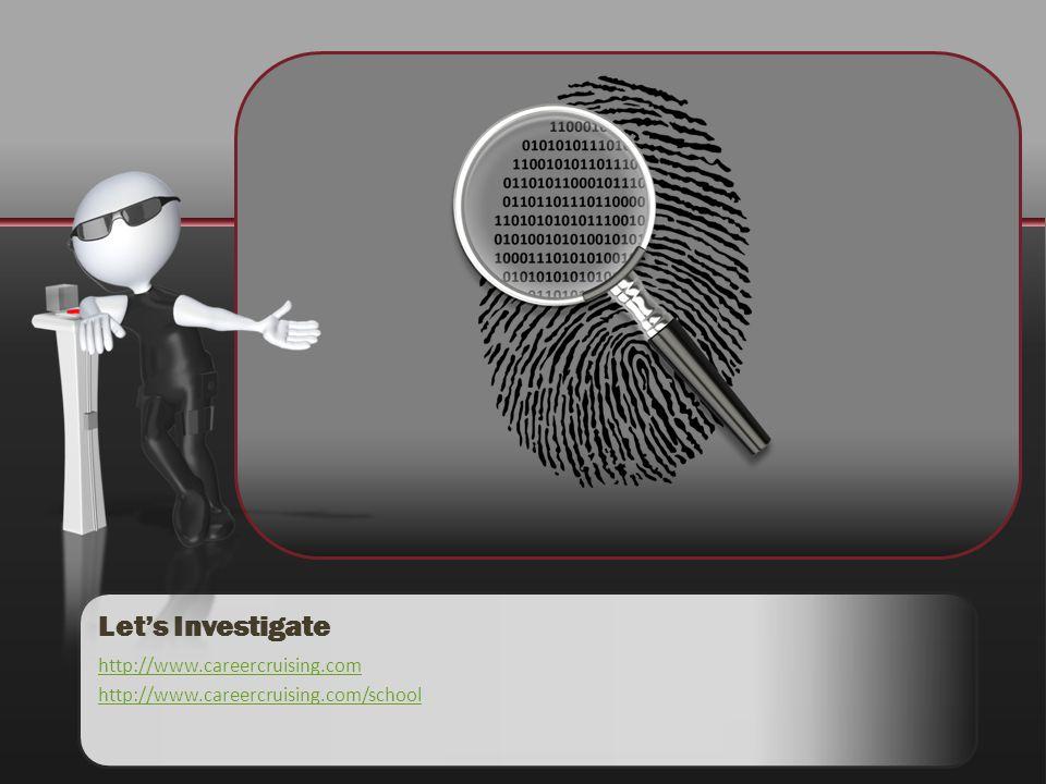 Lets Investigate http://www.careercruising.com http://www.careercruising.com/school