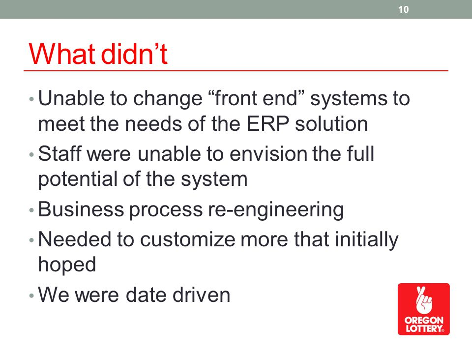 What didnt Unable to change front end systems to meet the needs of the ERP solution Staff were unable to envision the full potential of the system Bus