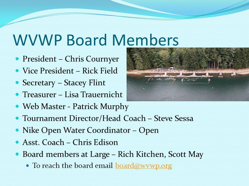 WVWP Board Members President – Chris Cournyer Vice President – Rick Field Secretary – Stacey Flint Treasurer – Lisa Trauernicht Web Master - Patrick Murphy Tournament Director/Head Coach – Steve Sessa Nike Open Water Coordinator – Open Asst.