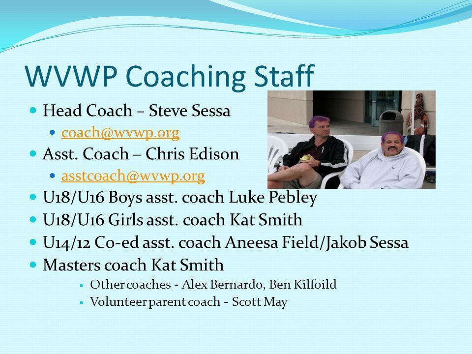WVWP Coaching Staff Head Coach – Steve Sessa coach@wvwp.org Asst.