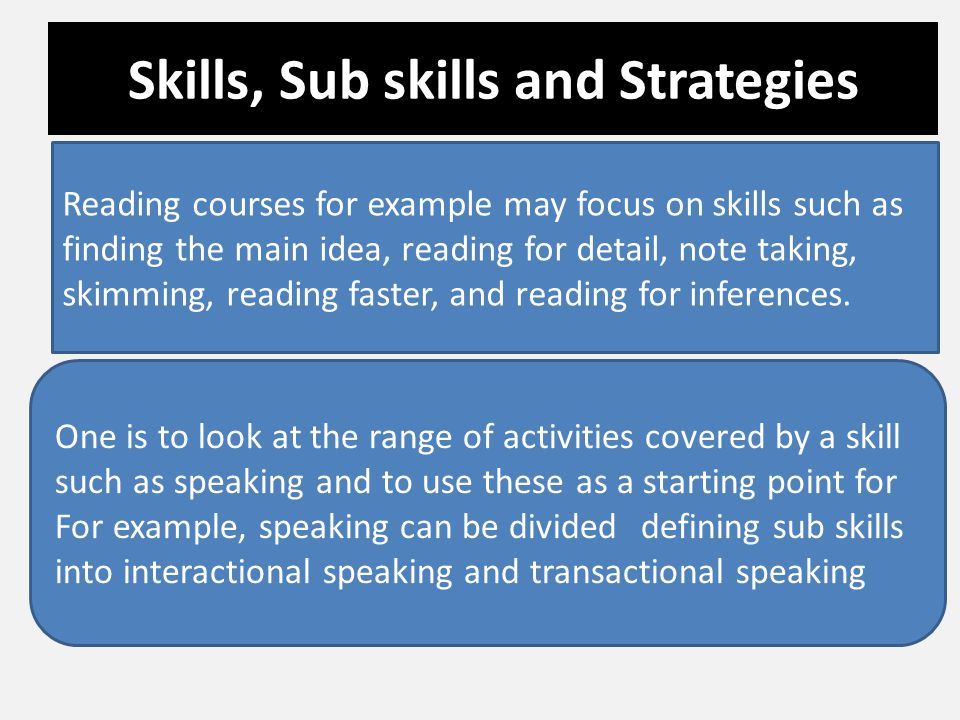 Skills, Sub skills and Strategies Reading courses for example may focus on skills such as finding the main idea, reading for detail, note taking, skim